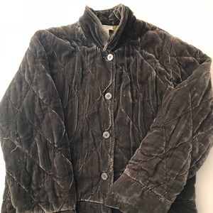 vintage velvet puffer jacket military green sz M